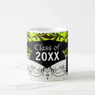 brown bird and lime green damask graduation mugs