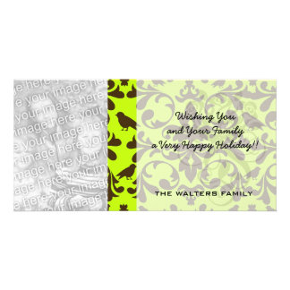 brown bird and lime green damask pattern photo card template
