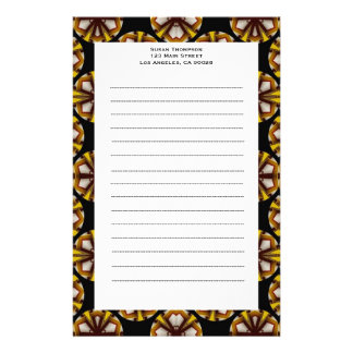 brown black circles stationery