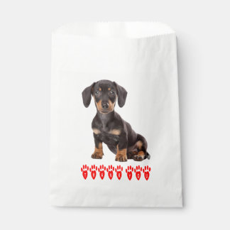 Brown & Black Dachshund Puppy Dog Thank You Red Favour Bags
