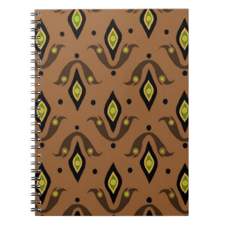 Brown,  Black, Fleur-de-lys Spiral Notebook