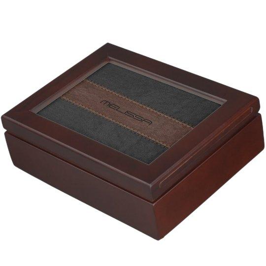 Brown & Black Stitched Leather Texture Keepsake Box