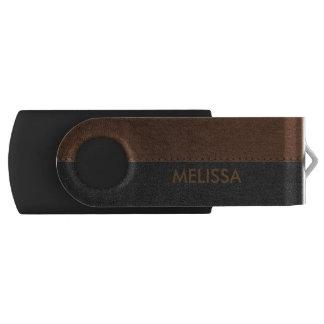 Brown & Black Stitched Vintage Leather USB Flash Drive