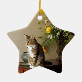 Brown black Tabby cat Sitting on piano flowers Ceramic Star Decoration