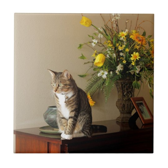 Brown black Tabby cat Sitting on piano flowers Small Square Tile