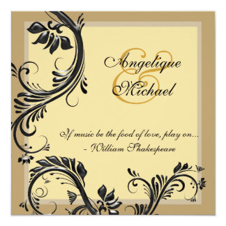 Brown black wedding anniversary engagement card