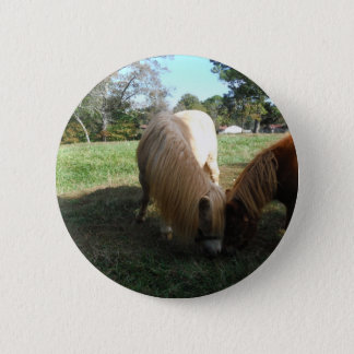 "Brown Blond,"" Miniature Horses""Two Little Ponies 6 Cm Round Badge"