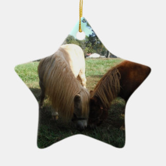 """Brown Blond,"""" Miniature Horses""""Two Little Ponies Ceramic Star Decoration"""
