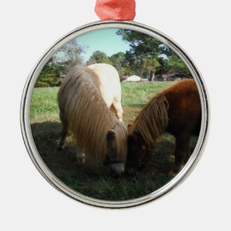 """Brown Blond,"""" Miniature Horses""""Two Little Ponies Silver-Colored Round Decoration"""