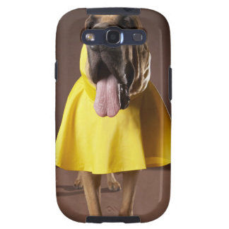 Brown bloodhound dog wearing yellow raincoat samsung galaxy s3 covers