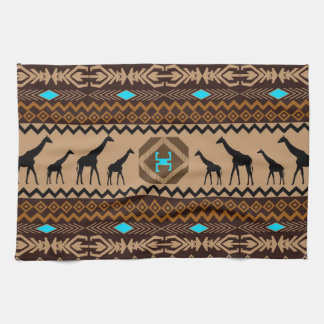 Brown Blue & Beige African Pattern & Giraffe Tea Towel