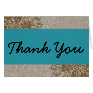 Brown & Blue Blossom Thank You Note Card