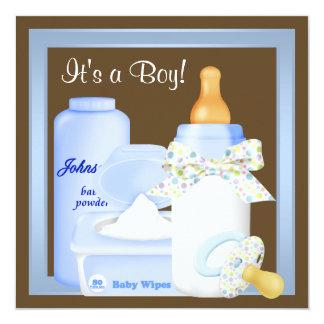 Brown Blue Bottle Pacifier Baby Boy Shower 13 Cm X 13 Cm Square Invitation Card