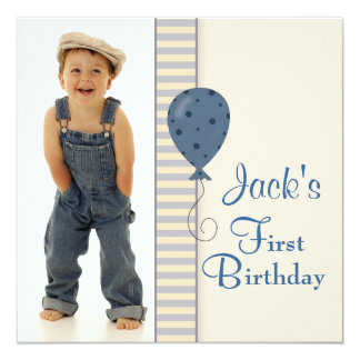 Brown Blue Boys Photo 1st Birthday Party Personalized Invite
