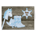 Brown Blue Cowboy Baby Shower Thank You Cards