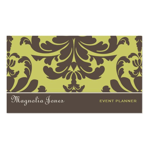 Brown & Blue Damask Brocade Professional Style Business Cards