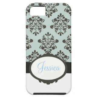 Brown & Blue Damask iPhone 5 Case