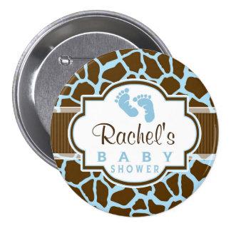 Brown, Blue Giraffe Animal Print Baby Shower Pinback Buttons