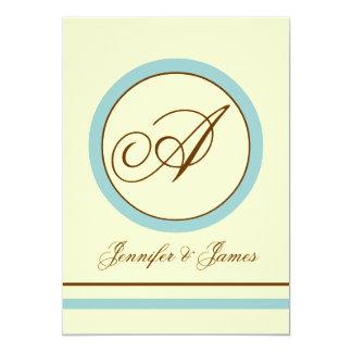 Brown, Blue Ivory Monogram Wedding Invitation