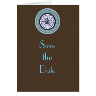 Brown & Blue Modern Save the Date Greeting Card