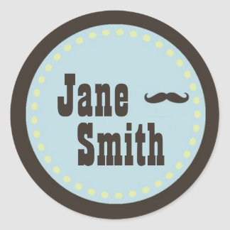 Brown & Blue Mustache Baby Shower Sticker