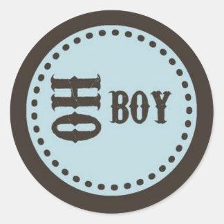 Brown & Blue Oh Boy Baby Shower Sticker