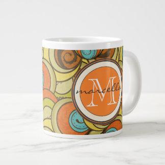 Brown Blue Orange Circles Monogram Large Coffee Mug