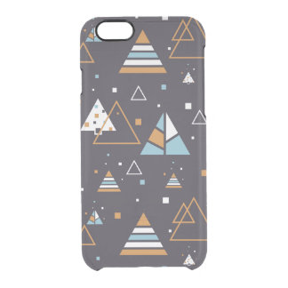 Brown & Blue Triangles Modern Pattern 3 Clear iPhone 6/6S Case