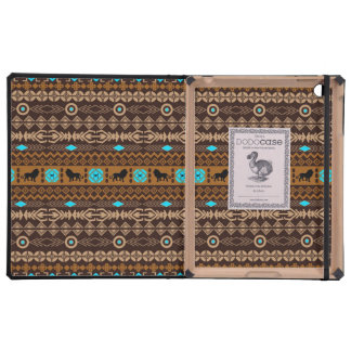 Brown & Blue Tribal Pattern & African Lion Cover For iPad