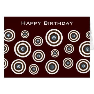 Brown Blue & White Retro Circles Birthday Card