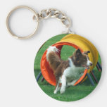 Brown Border Collie Agility Tunnel Basic Round Button Key Ring