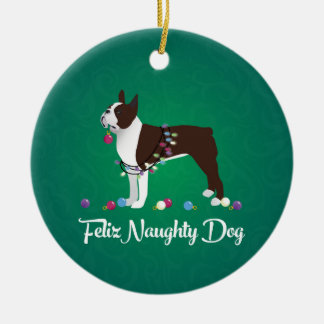 Brown Boston Terrier Feliz Naughty Dog Design Christmas Ornament