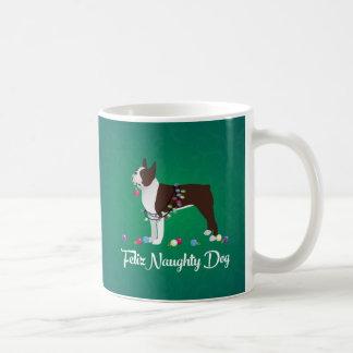Brown Boston Terrier Feliz Naughty Dog Design Coffee Mug