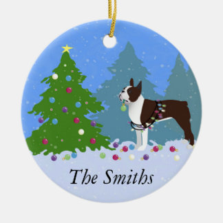 Brown Boston Terrier in Christmas Forest Christmas Ornament