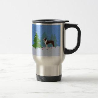 Brown Boston Terrier in Christmas Forest Travel Mug