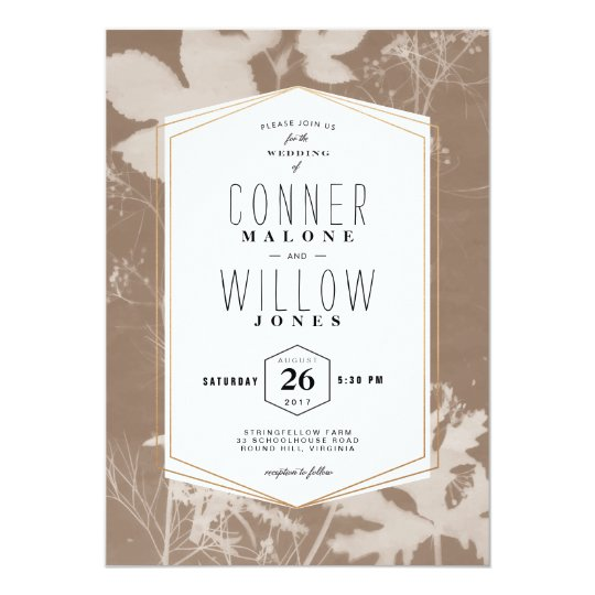 Brown botanical print wedding invitation, sunprint card