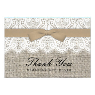 Brown Bow and Lace Wedding Thank You Card