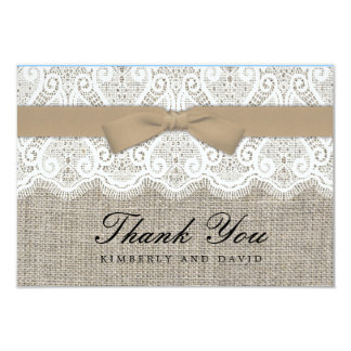 Brown Bow and Lace Wedding Thank You Card Announcements