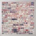 Brown Brick Background Red Bricks Grunge Wall Poster