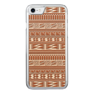 Brown Brick Geometric Aztec Tribal Print Pattern Carved iPhone 8/7 Case