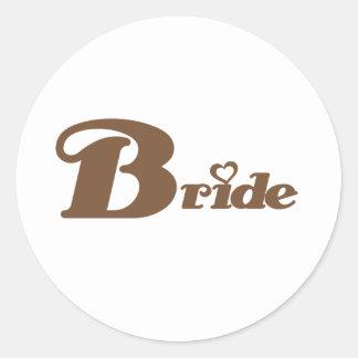 Brown Bride Round Sticker