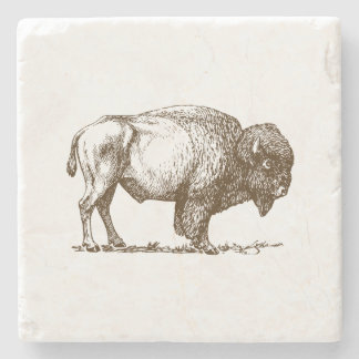 Brown Buffalo Bison Stone Coaster