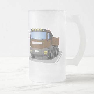 brown building sites truck frosted glass beer mug