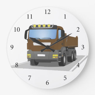brown building sites truck large clock