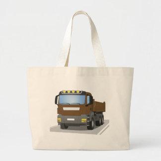 brown building sites truck large tote bag