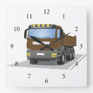 brown building sites truck square wall clock