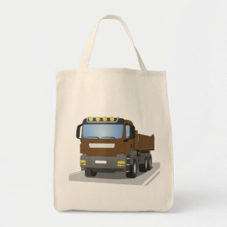 brown building sites truck tote bag