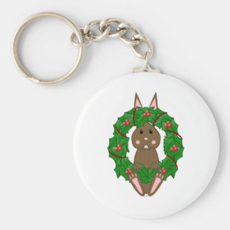 Brown Bunny And Christmas Wreath Keychains