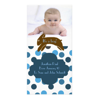 Brown Bunny Blue Birth Announcement Photo Cards