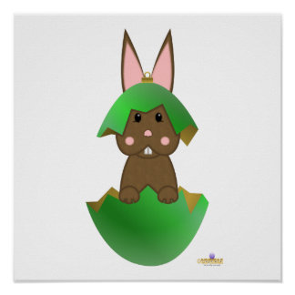 Brown Bunny Green Christmas Ornament Poster
